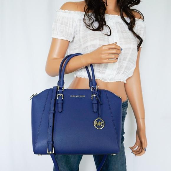 Michael Kors Ciara LG Satchel Leather Bag Sapphire NWT